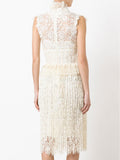 GEMIMA tasseled lace midi dress
