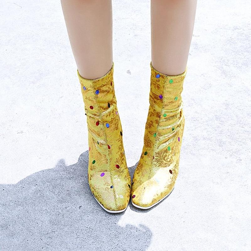Golden Skittles sock boots