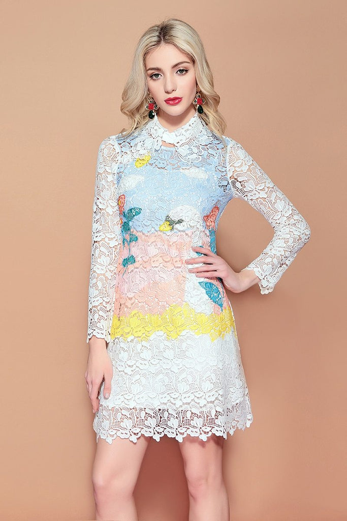 GRACEY appliqued lace mini dress