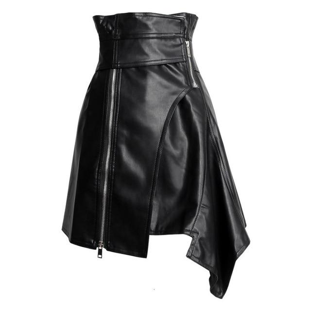 High-waist asymmetric faux leather skirt