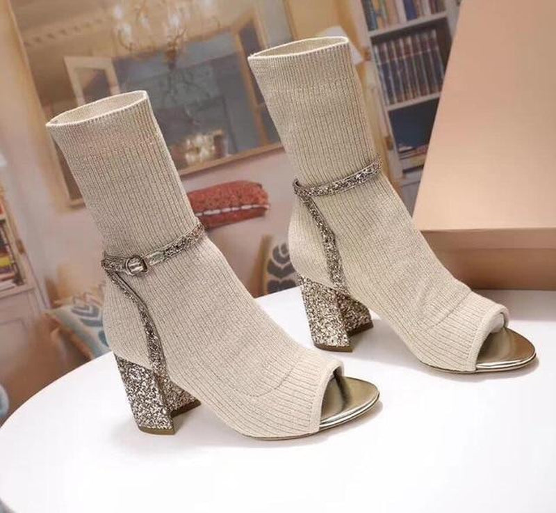 Knit peep-toe sock boots in beige