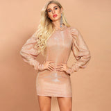 Lantern-sleeve champagne mini dress