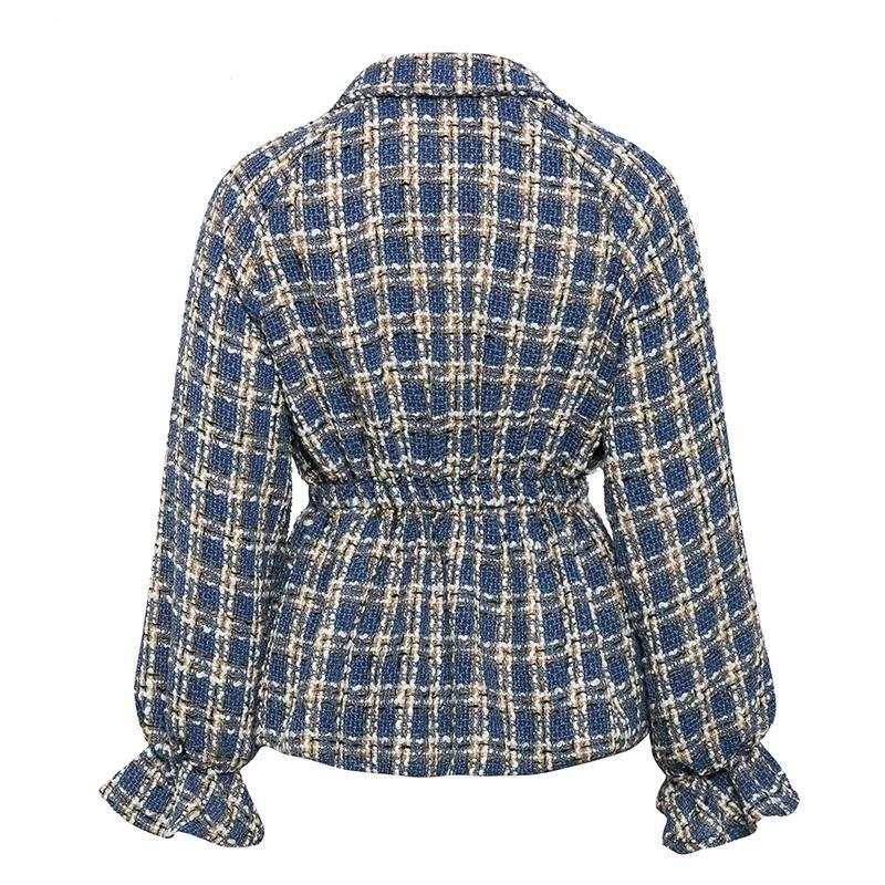 Lantern sleeve plaid short jacket