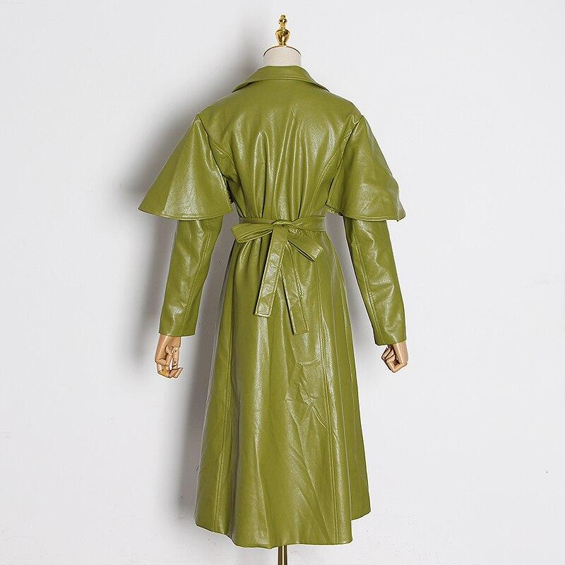 Lapel collar faux leather trench in colors
