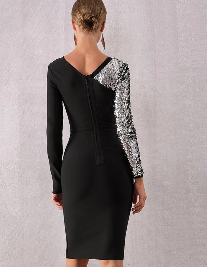 LEERA sequinned silver sleeve black mini dress