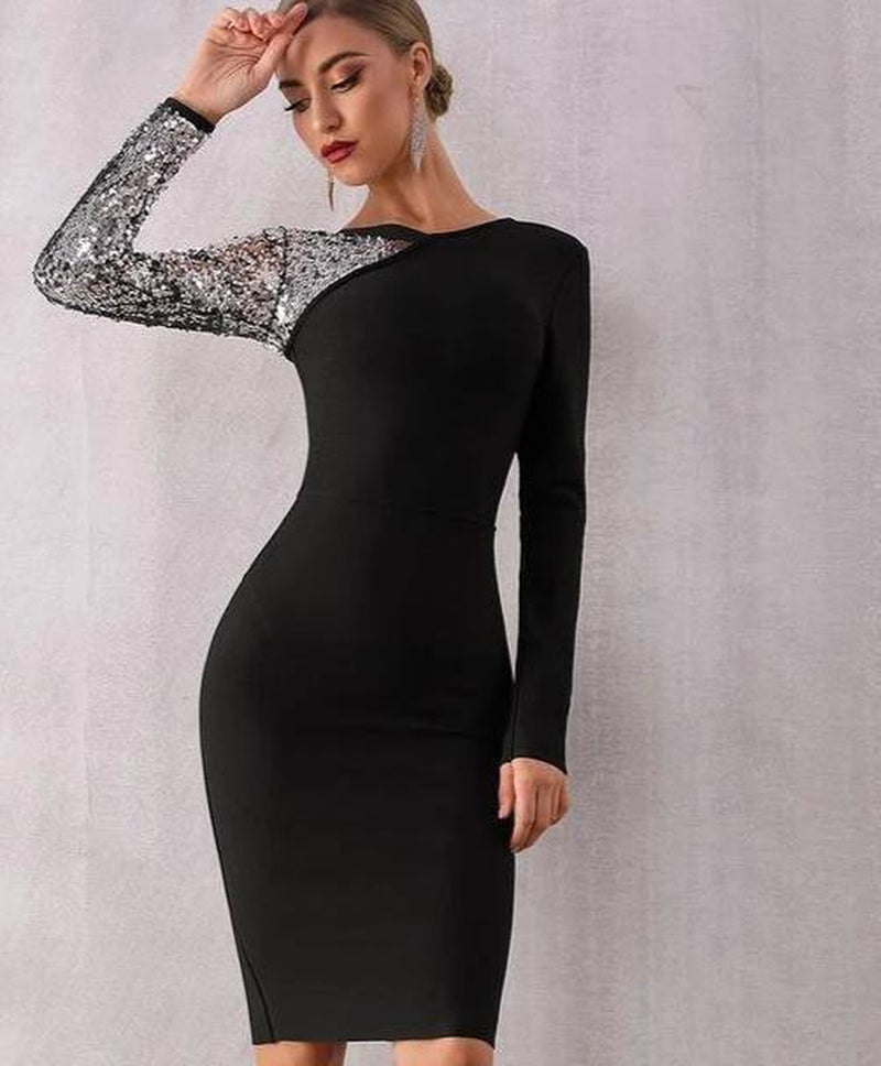LEERA sequinned silver sleeve black mini dress-mini dress-Primetime Looks