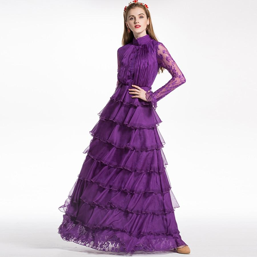 LILAC WINE turtleneck mesh maxi gown