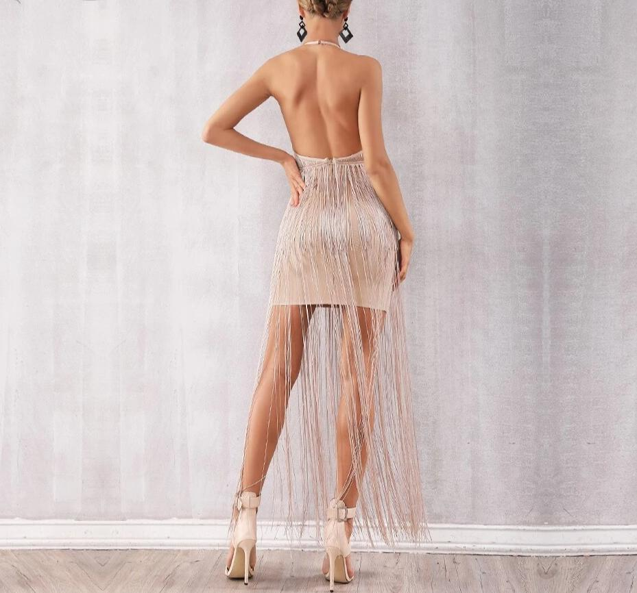 Long fringe halter dress in powder pink