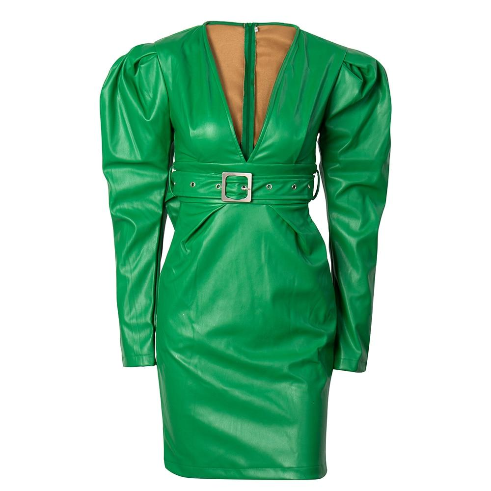 Major V-neck belted green mini dress