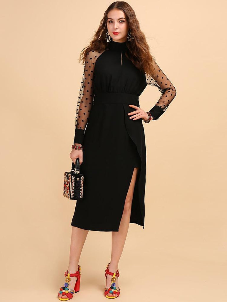 Midi black dress with mesh sleeves