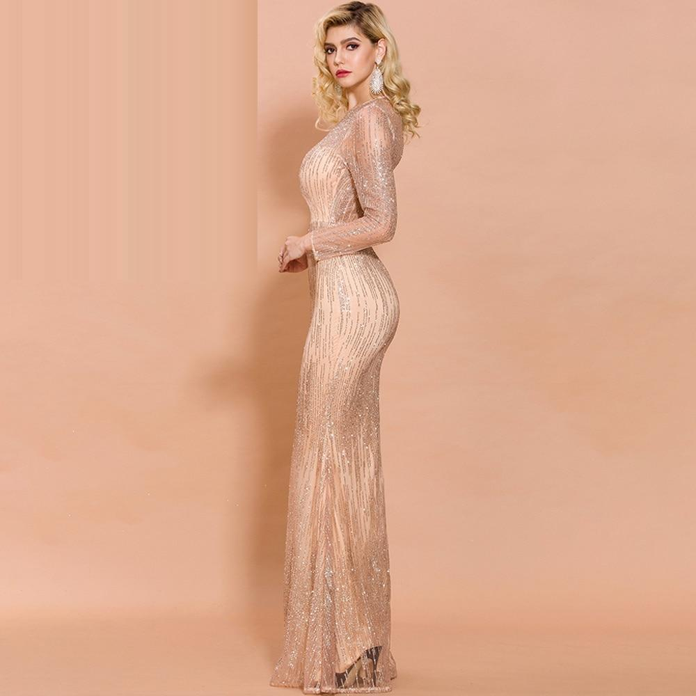MISS UNIVERSE glitter mesh gown in peach