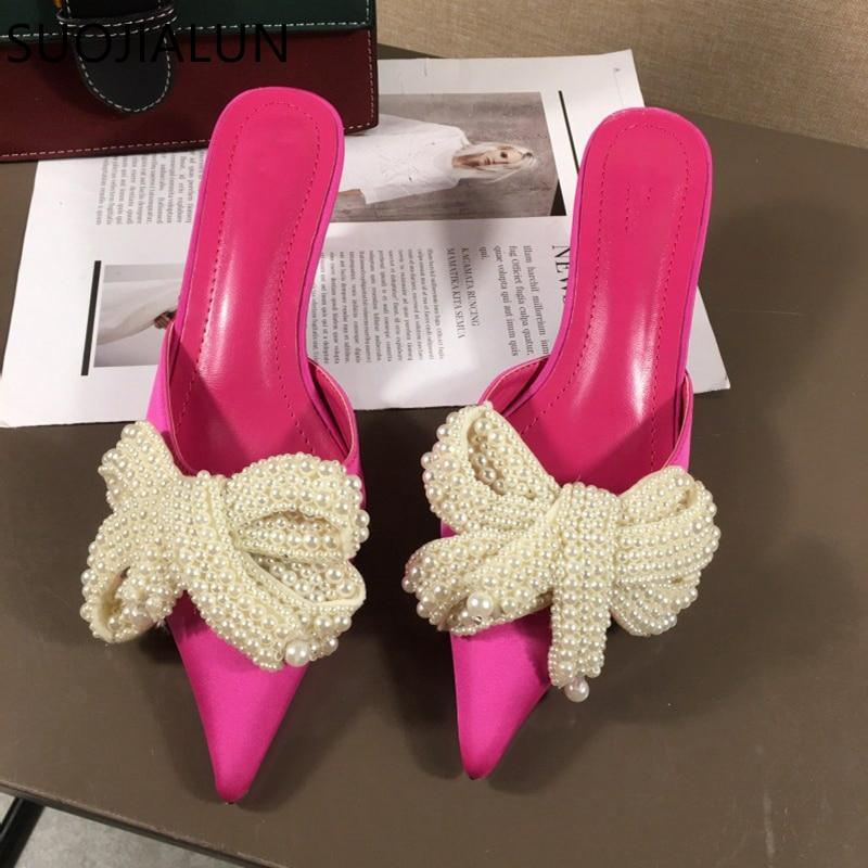 Pink satin beaded mules