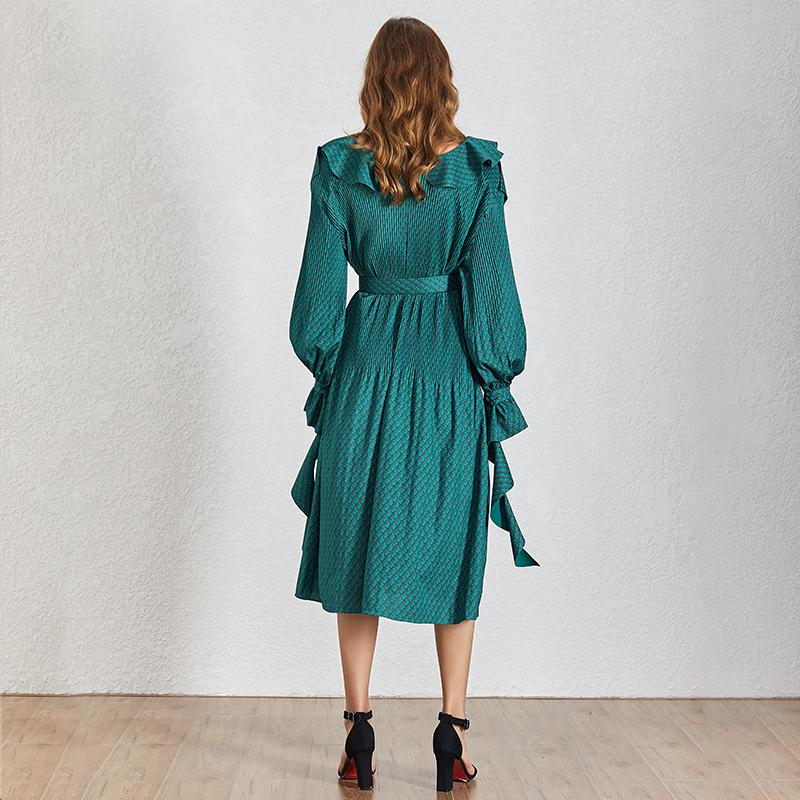 Pleated ruffled midi dress in wave green