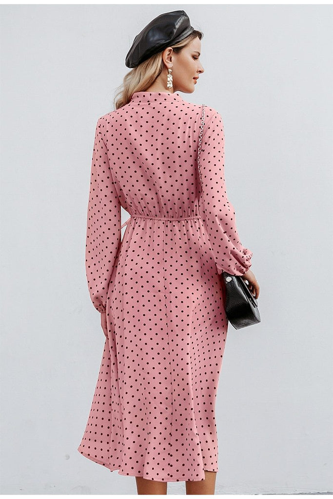 Polka dot bow midi dress