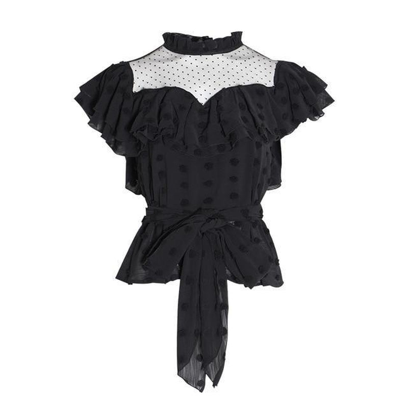 Polka dot chiffon blouse in black