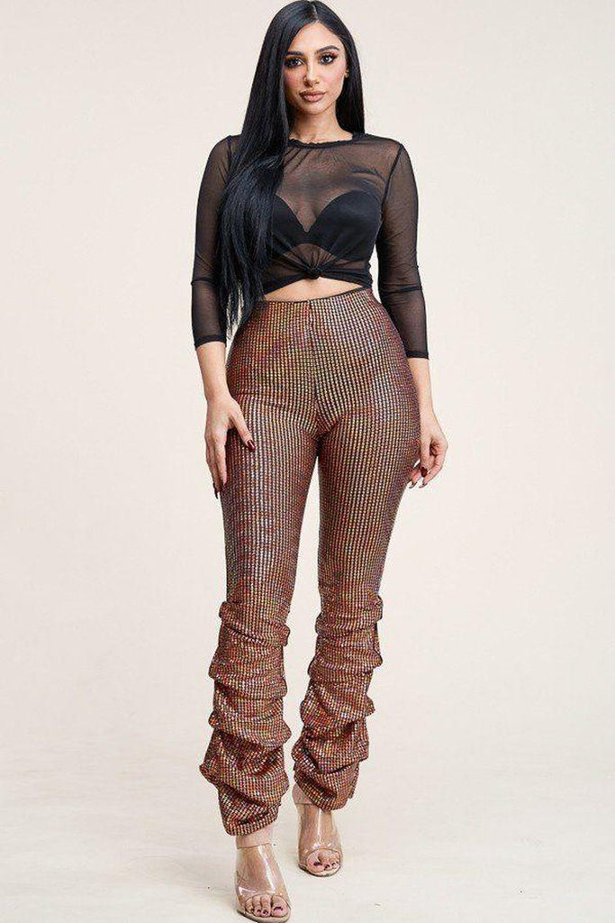 Primetime Looks-3/4 Sleeve Power Mesh Top And Holographic Stacked Pants