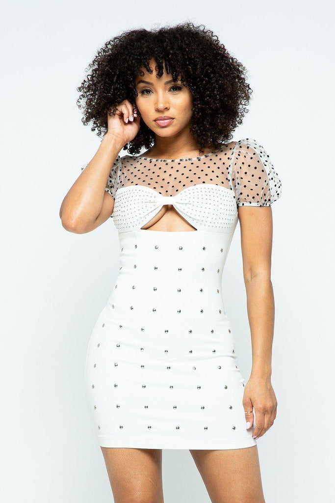 ADA Dotted Party Mini Dress in White