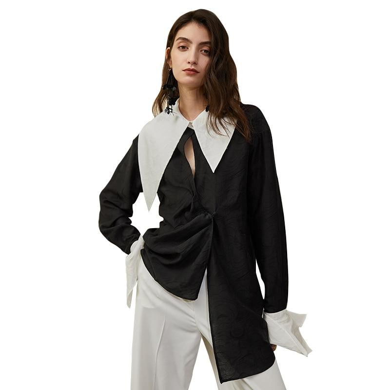 Asymmetric Black and White Collared Blouse