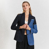 Asymmetric striped and denim patchwork jacket