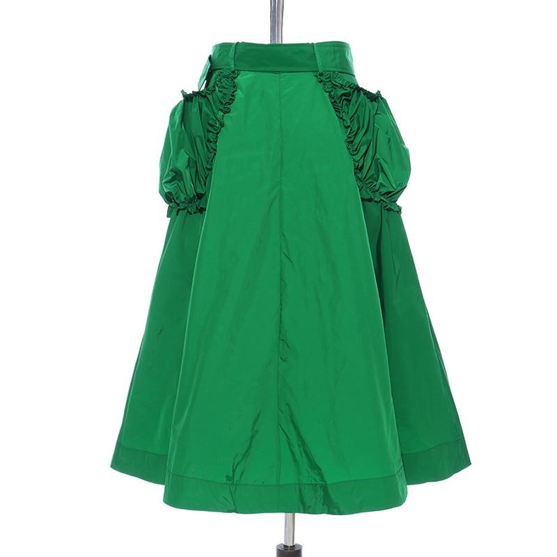 Belted Pockets With Sashes Ruched Skirt