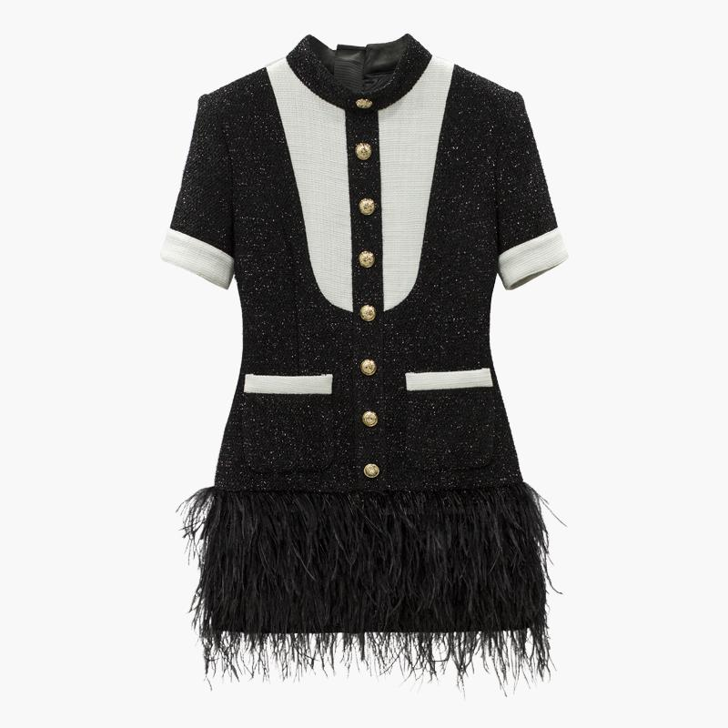 Black and white mini dress decorated with feathers-Primetime Looks