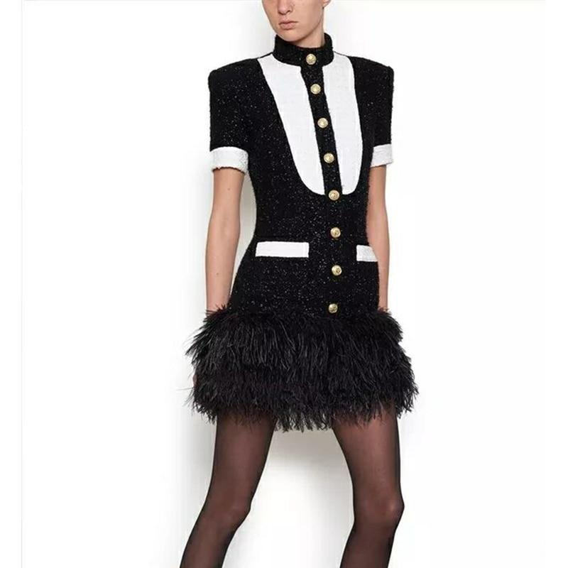 Black and white mini dress decorated with feathers-mini dress-Primetime Looks
