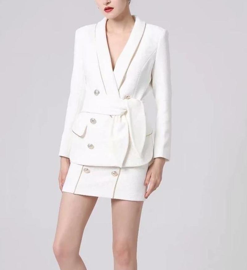 Primetime Looks-Blazer and skirt set in white