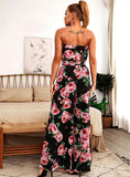 Blooming Roses Tube and Wide Pant Set in Black