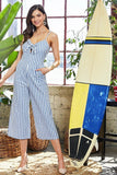 Primetime Looks-Bowknot striped holiday jumpsuit