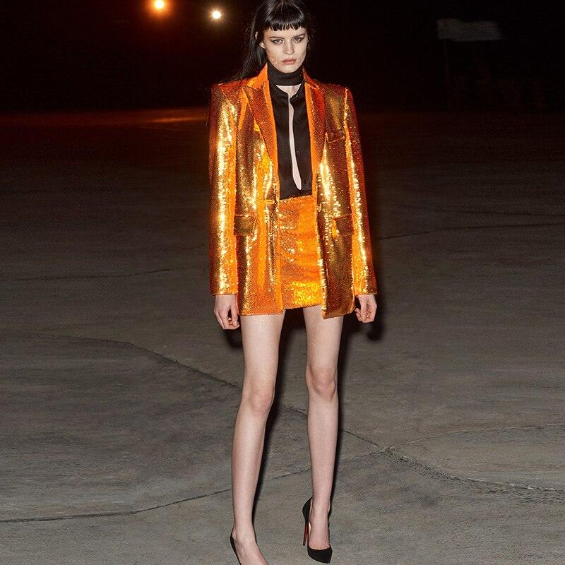 Primetime Looks-Bronze orange long party blazer
