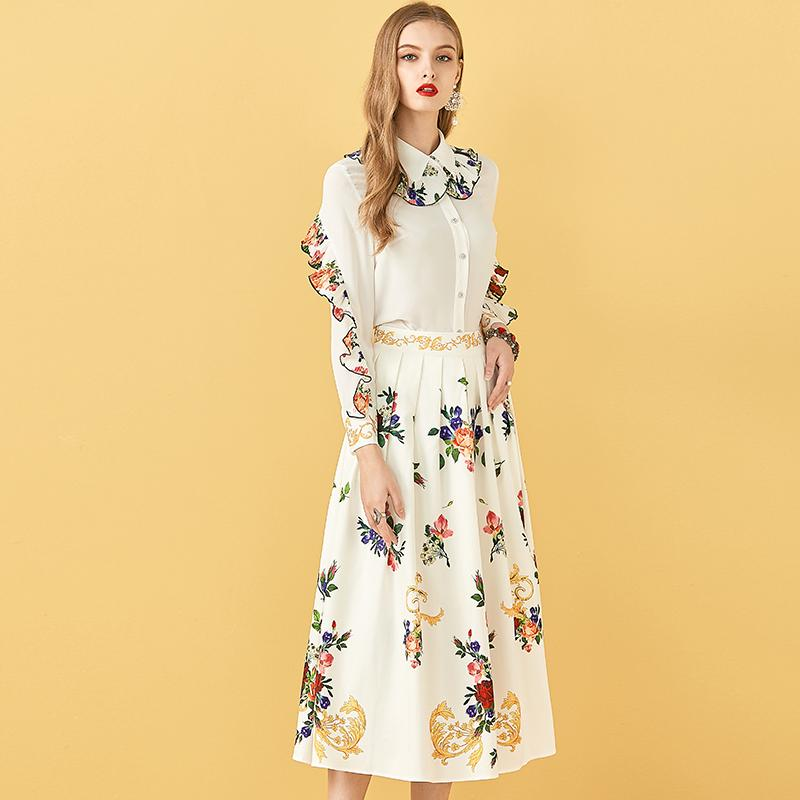 Primetime Looks-Button Flowery Top and Midi Skirt Set