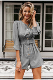 Primetime Looks-Buttoned up belted romper