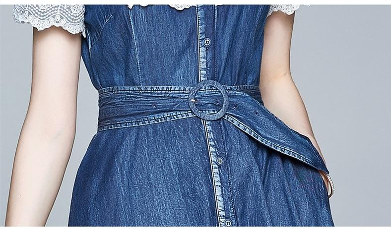 CARA denim maxi dress with lace details