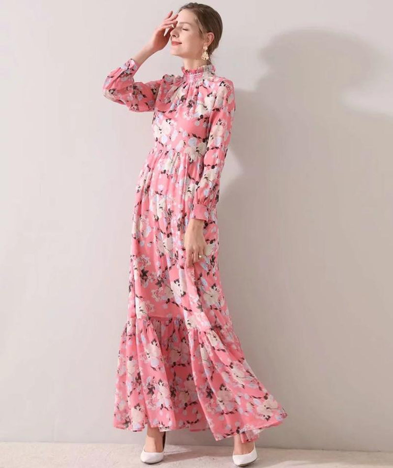 CARRIE Blossom Ruffle Neck Maxi Dress