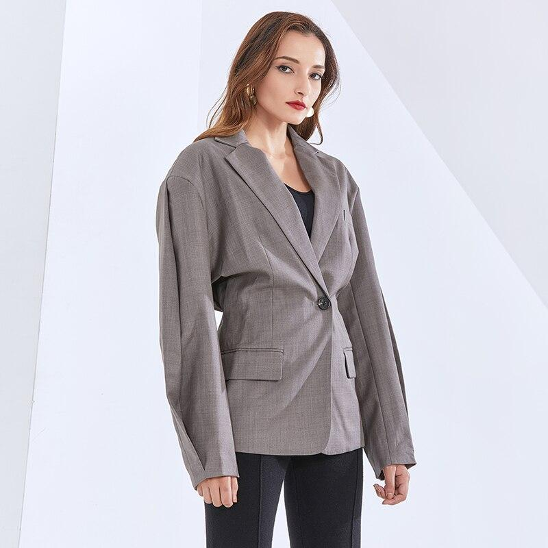 Casual chic lapel blazer in gray