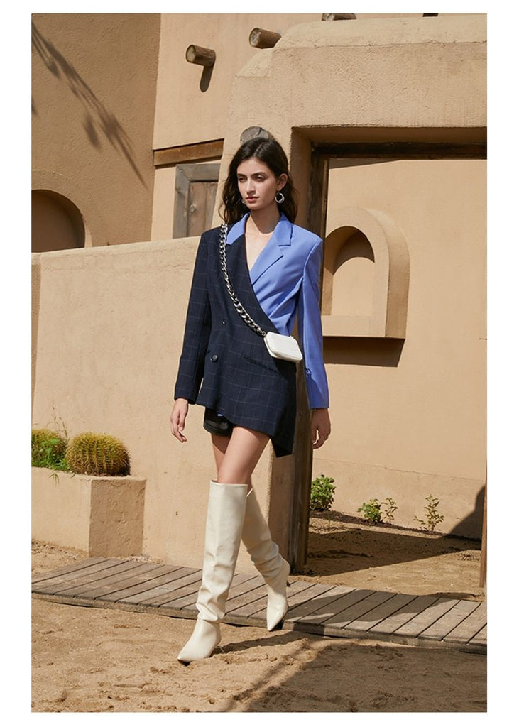 Color-Block Wrap Long Blazer