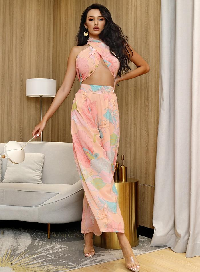Primetime Looks-Cruise dream culotte pants set in pink