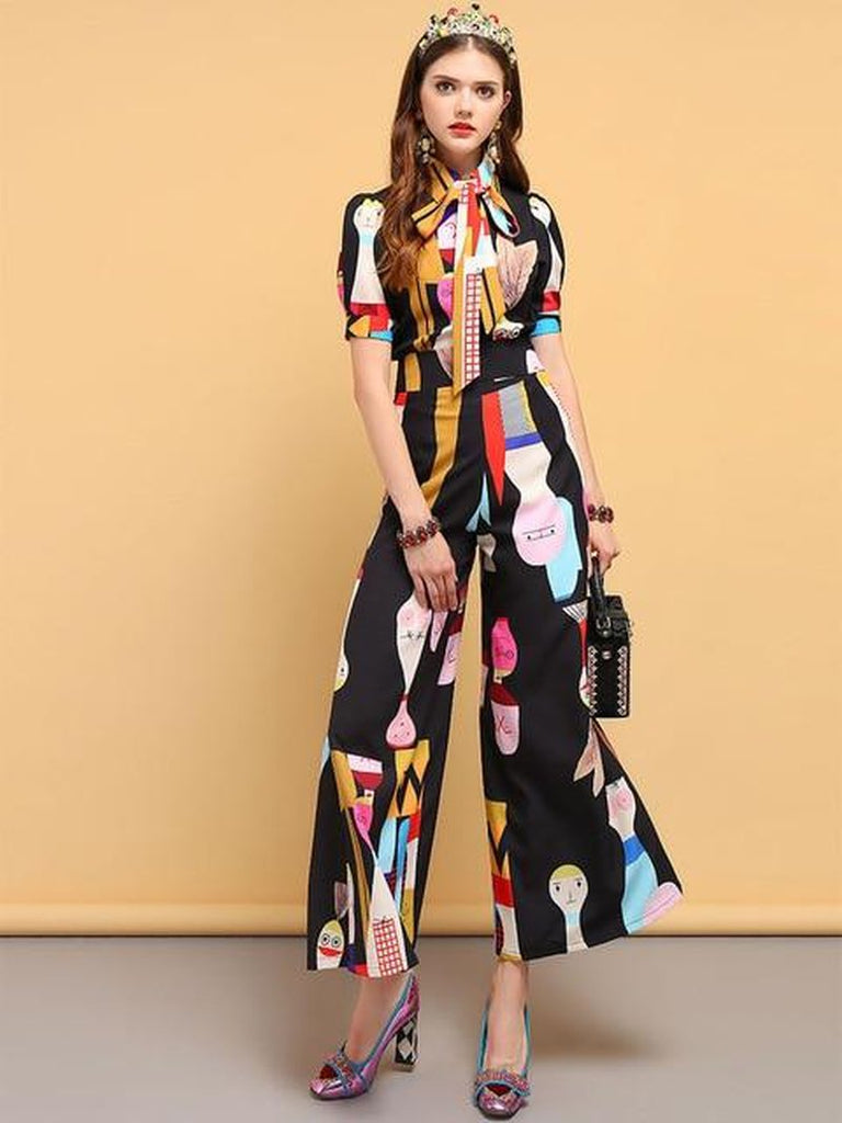Primetime Looks-DALI surreal printed bowknot pants suit in black