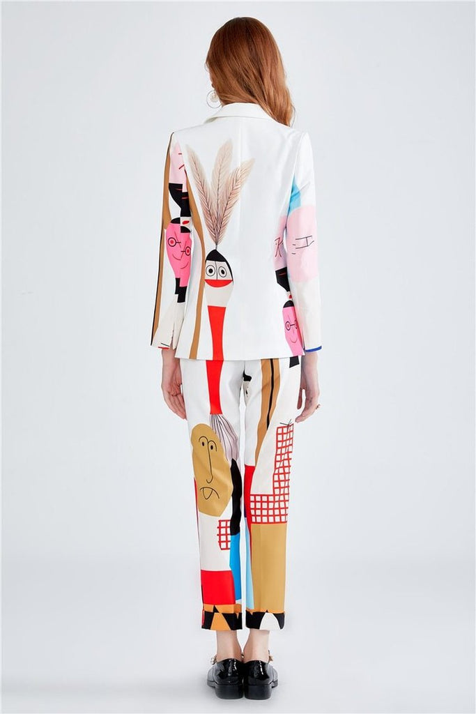Primetime Looks-DALI SURREAL printed pants suit in white