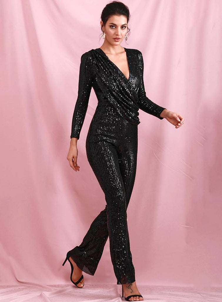Primetime Looks-DANCING QUEEN black sequinned jumpsuit