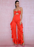 Primetime Looks-DANCING QUEEN Ruffled Jumpsuit in Orange