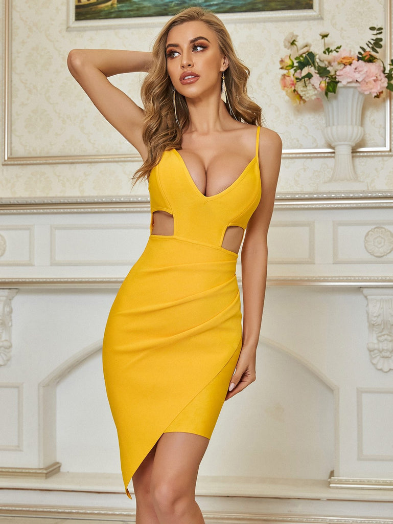 DEENA yellow hollow-out mini dress