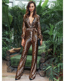 Primetime Looks-Deep V-neck satin leopard jumpsuit