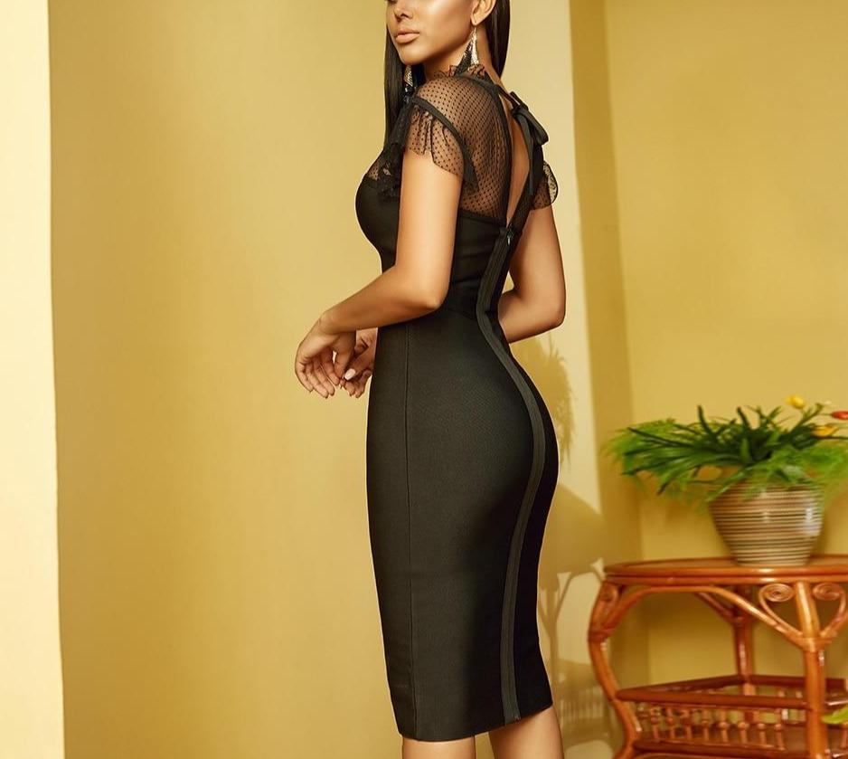DIANA bodycon mesh midi dress