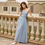 DIANA Ruched Tulle Maxi Dress