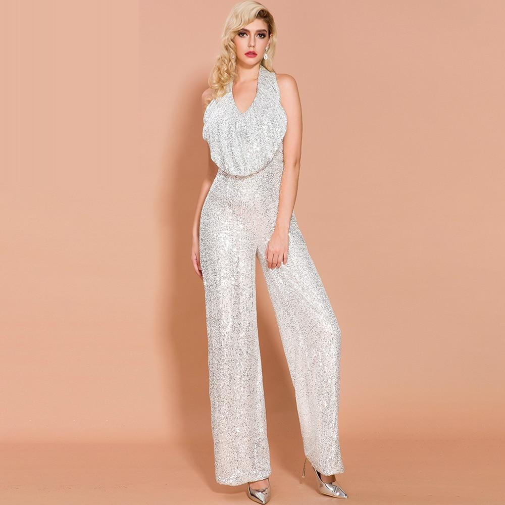 Primetime Looks-DISCO QUEEN pearly white sequinned jumpsuit