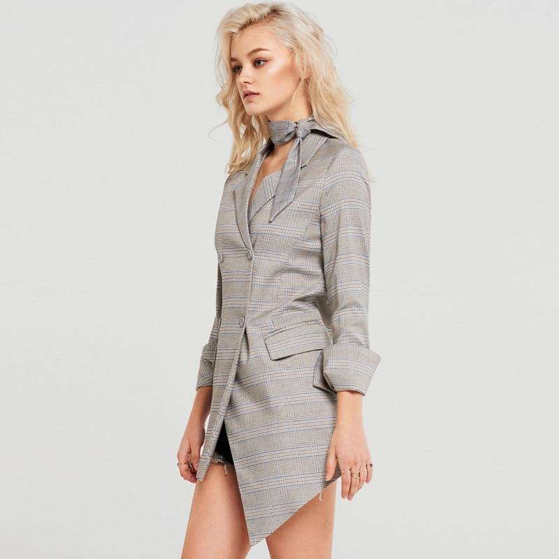 Primetime Looks-Double-breasted asymmetric long plaid blazer