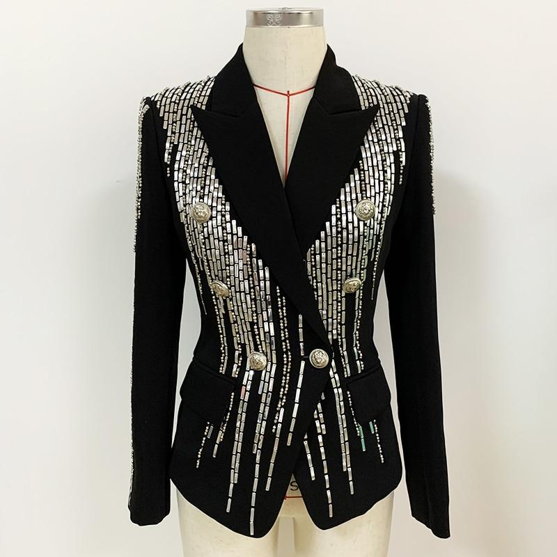Double-breasted beaded evening blazer
