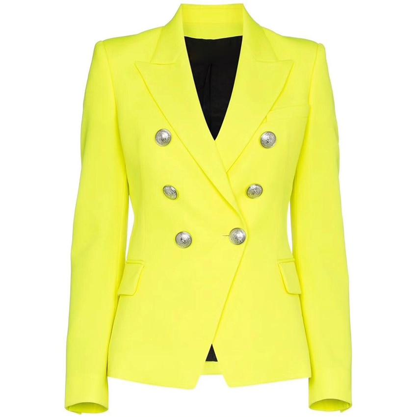 Primetime Looks-Double-breasted blazer in lime green