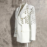 Primetime Looks-Double-breasted eyelet long blazer in white